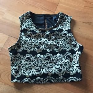 Black and Gold Lace Crop Top